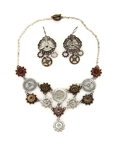 elope Multi Gear Steampunk Necklace And Earring (Cog Gear Halloween Costumes)