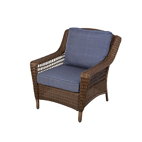 Hampton Bay Spring Haven Brown All-Weather Wicker Patio Lounge Chair with Sky Blue Cushions - Hampton Bay Wicker Furniture