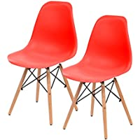 IRIS Mid-Century Modern Shell Chair with Wood Eiffel Legs, 2 Pack, Strawberry Red