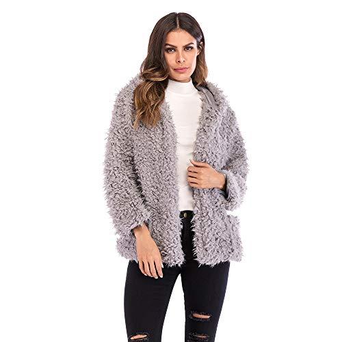 Byyong Women Hooded Sweatshirt Winter Warm Open Front Wool Pockets Cotton Coat Outwear(M, Gray)
