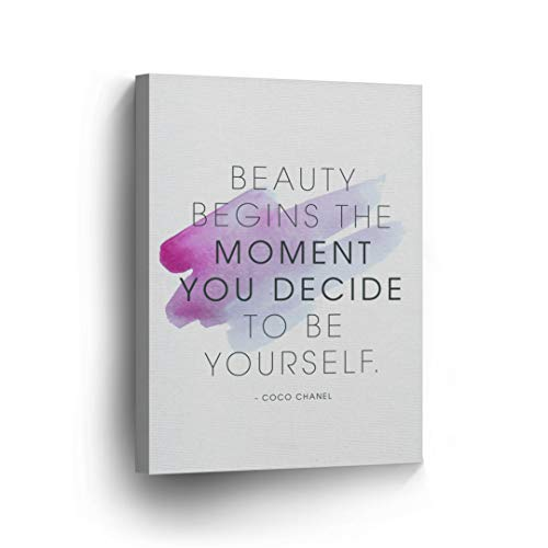 `Beauty Begins The Moment You Decide To Be Yourself` Quote CANVAS PRINT Inspirational Wall Art Saying Home Decor Artwork Gallery Stretched and Ready to Hang - %100 Handmade in the USA - 12x8
