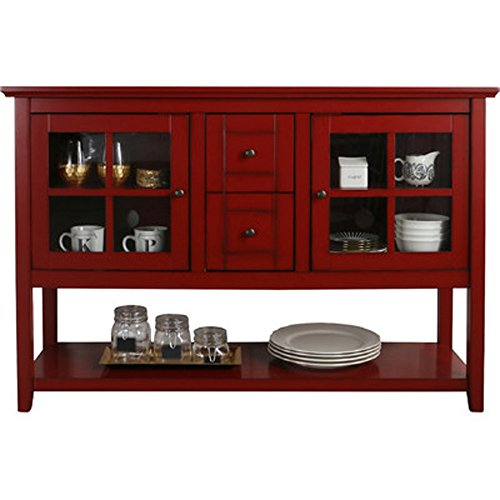 Media Console Table With Storage - Large Glass Doors TV Stand - Entertainment Center or Sideboard - This Piece Of Furniture Is Multipurpose (Red) - 52' Console