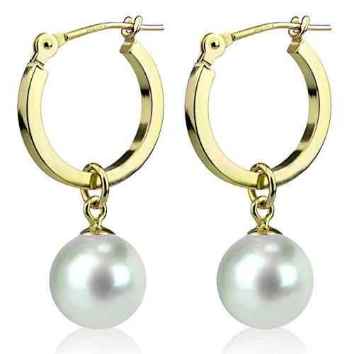 14K Yellow Gold Round White Freshwater Cultured Pearl Hoop Dangle Earrings 7mm by La Regis Jewelry (Image #1)