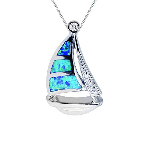 JewelStop Sterling Silver Created Blue Created Opal Sailboat Charm Pendant ()