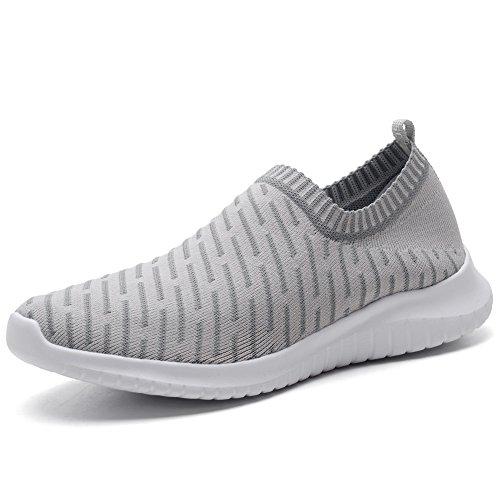 TIOSEBON Women's Walking Shoes Lightweight Mesh Slip-on- Breathable Running Sneakers 5 US Gray