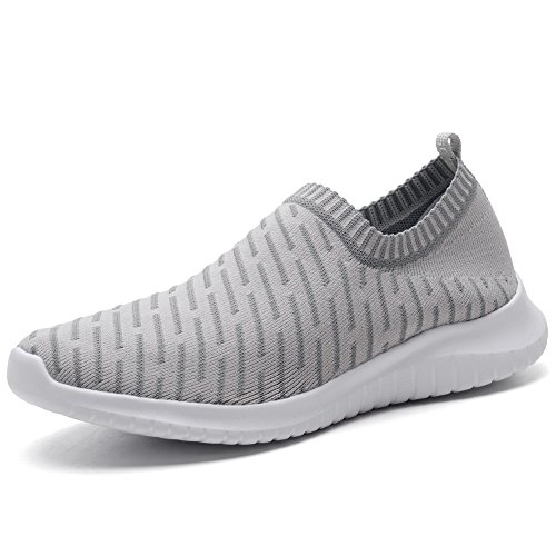 KONHILL Women's Lightweight Casual Walking Athletic Shoes Breathable Mesh Running Slip-On Sneakers, L.Gray, 39 by KONHILL