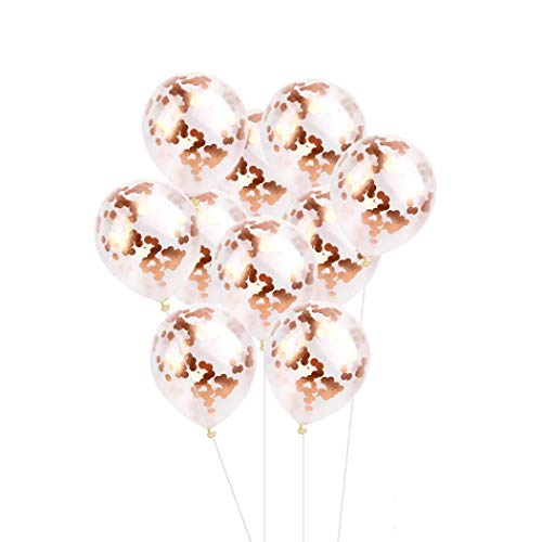 Nadition Balloon Clearance,10pcs 12 inch Foil Latex Confetti Balloon Set Wedding Birthday Christmas Party Decor Baby Shower (Rose Gold)