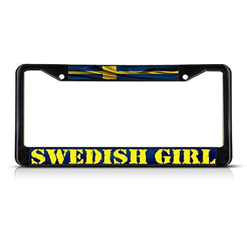 Swedish Girl, Sweden Wavy Flag METAL Black License Plate Frame Tag Holder
