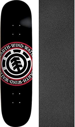 Element Skateboards Elemental Seal Black Skateboard Deck Bundle of 2 Items 8.2 x 32.2 with Mob Grip Perforated Black Griptape