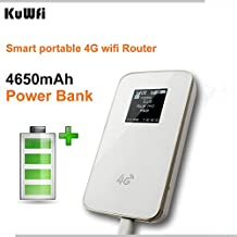 KuWFi Portable Power Bank 4G WiFi Router Hotspot Portable Wireless Unlock Mini LTE WiFi Modem 4G Router with SIM Card Slot (not inclued SIM Card) not Support US Sprint SIM Card