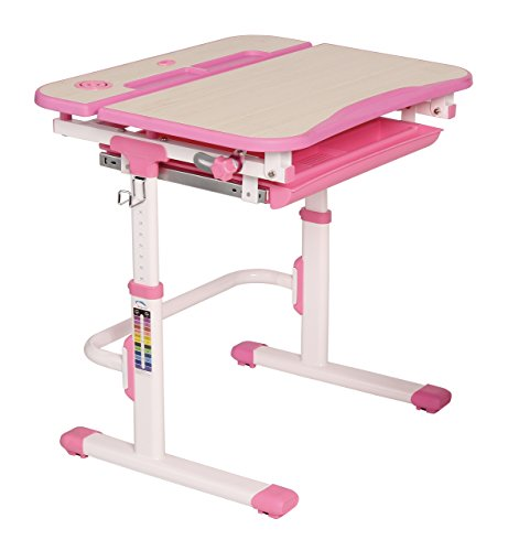 Galileo Ergonomic Height Adjustable Kids Study Desk & Chair Set | LED Lamp & Book Holder Included | Multi-Functional Arts Table (Pink) - Galilea Table Lamp