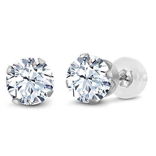 Gem Stone King 10K White Gold White Created Sapphire Stud Earrings 2.40 Ct 6MM ()