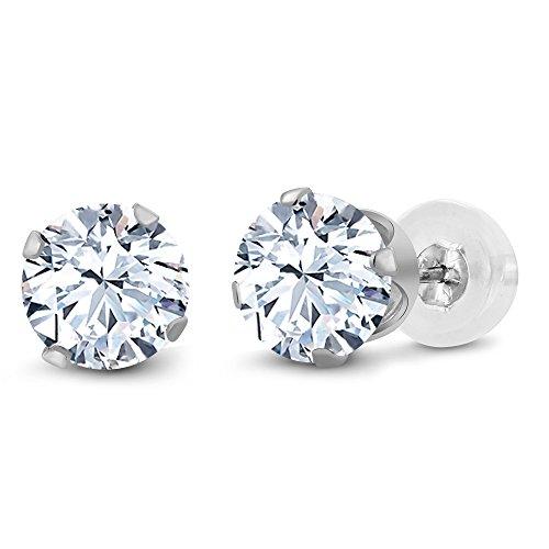 Gem Stone King 10K White Gold White Created Sapphire Stud Earrings 2.40 Ct 6MM