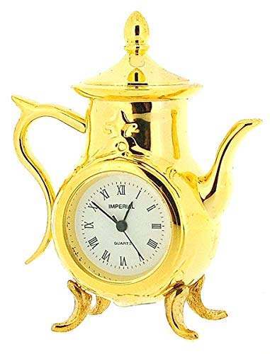 GTP Miniature Analogue Goldtone Metal Coffee Pot Novelty Collectors Clock IMP76 (Miniature Clocks)