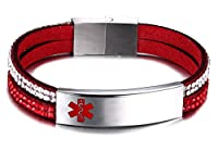 JF.JEWELRY Free Engraving Medical Alert ID Bracelet for Women with 2-Layers Velvet & Rhinestone Link 6-7.5 inches