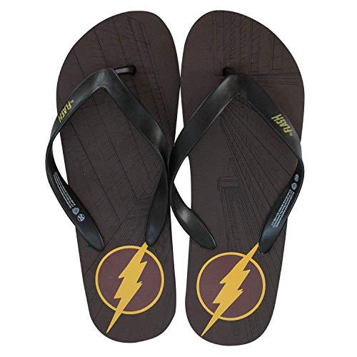 (DC Comics Men's Flash Comic Flip Flop Sandal, Maroon, L M)