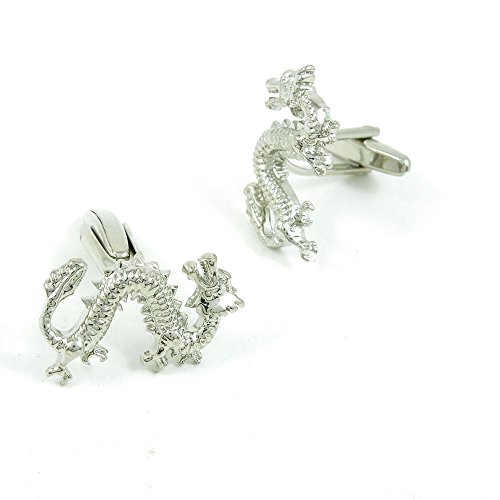 50 Pairs Cufflinks Cuff Links Fashion Mens Boys Jewelry Wedding Party Favors Gift POD042 Shinning Silver Chinese Dragon by Fulllove Jewelry