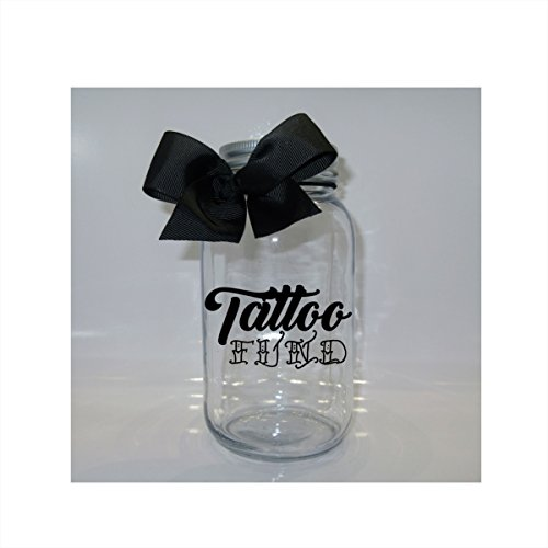 Fund Jar (Tattoo Fund Mason Jar Bank - Coin Slot Lid - Available in 3 Sizes)