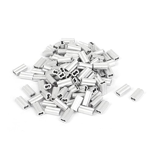 uxcell 1mm Wire Rope Aluminum Sleeves Clip Fittings Cable Crimps 100pcs