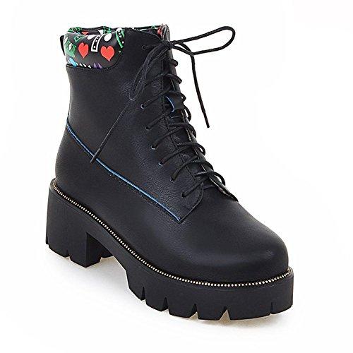 DecoStain Round Toe Lace-up patent-leather bootie Black 4qFVXfZ