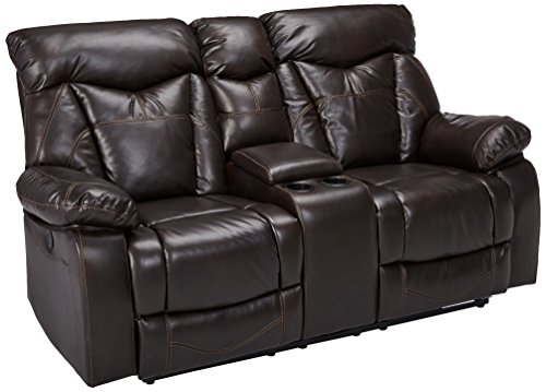 Rustic Loveseat Leather (Coaster Zimmerman Casual Dark Brown Faux Leather Power Reclining Love Seat with Cup Holders)