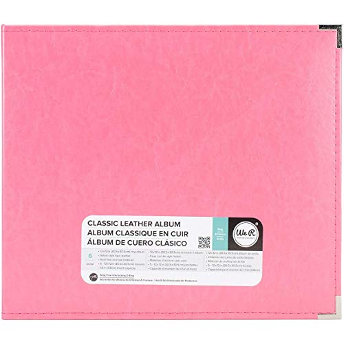 12 x 12-inch Classic Leather 3-Ring Album by We R Memory Keepers | Strawberry, includes 5 page protectors