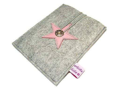 eBook Reader eReader Hülle Star, Wollfilz, Filz, Leder Farbwahl, Maßanfertigung, z. B. für Tolino Epos