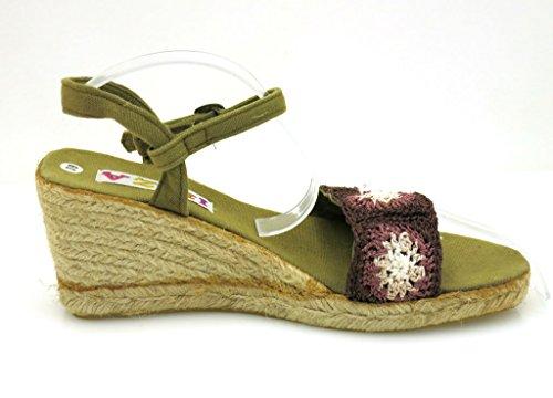 Ibiza Keilsandalette Sandalette Sommerschuhe Espandrilles bunt 1234 Khaki