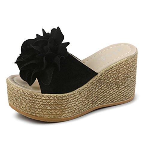 LvYuan Deslizadores del verano de las mujeres / manera ocasional de la comodidad / talón de cuña / parte inferior gruesa / plataforma impermeable / alto talón / flor atractiva / sandalias / zapatos de Black