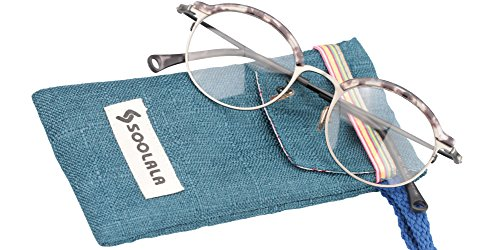 SOOLALA Vintage Quality Round Half Frame Reading Glass Prescription Eye Glass Frame, Tortoise, - Frames To Where Glasses Vintage Buy