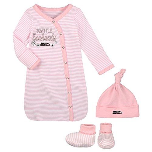 Outerstuff NFL Newborn Gown, Hat & Bootie Set, Seattle Seahawks, Pink, 1 Size]()