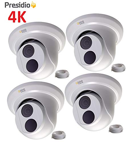 Q-See 4K 8MP Presidio Bastion Dome Camera with Color Night Vision Ultra HD IP Surveillance with H.265+ and IVA, VCA (4-Pack BA4KD1.1)