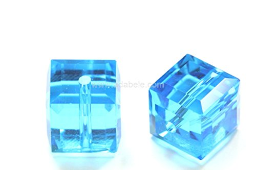50 8mm Adabele Austrian Cube Crystal Beads Capri Blue Alternative For Swarovski Preciosa Crystalized 5601 (Labradorite Teardrop Bracelet)