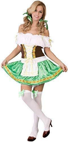 Ladies Sexy Green Oktoberfest German Swedish Beer Girl Hiedi Gretal Fancy Dress Costume Outfit (UK 16-18)