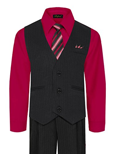 Black Tie Clothes (Boy's Vest and Pant Set, Includes Shirt, Tie and Hanky - Black/Red, 8)