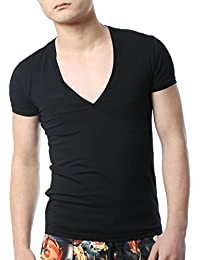 Men's V Neck T Shirts Tight Tee Stepped Hem