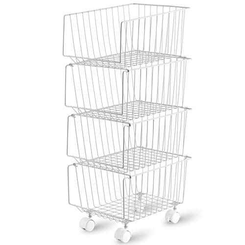 4 Tiers Stackable Rolling Bin Basket with Pre-Installed Casters, Modern Storage Basket Utility Shelf Storage Organizer for Cupboards, Pantries, Shelves, Closet, Bedroom (Grey)