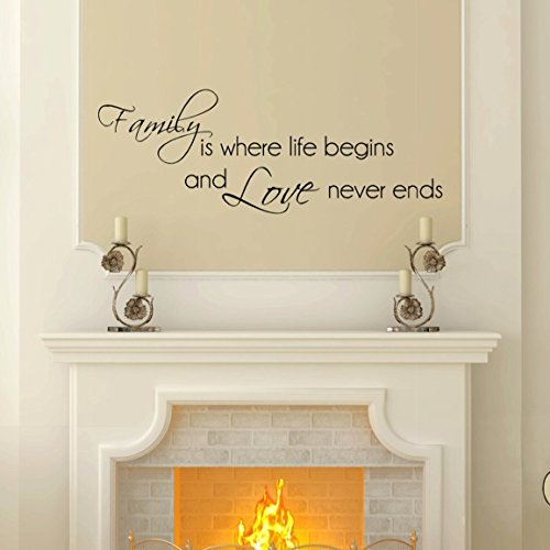 Cheap  Family Love Never Ends Wall Decal, Home Decor Sticker, 30