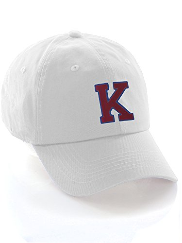 Custom Dad Hat A-Z Initial Letters Classic Baseball Cap - White Hat with Blue Red Letter K -