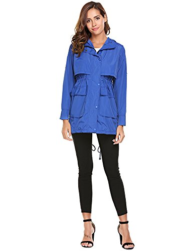 Jackets Drawstring Raincoat Blue Women with Lightweight Long Solid Meaneor Hoodie Sleeve qzwUg