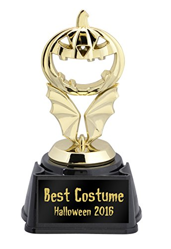 Best Bat Costume (Jack-O-Lantern & Bat Wings Halloween Trophy—Choose from 5 Plates)