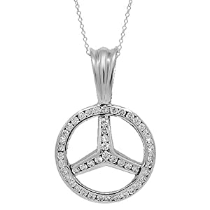 14k white solid gold custom diamond mercedes for Mercedes benz pendant