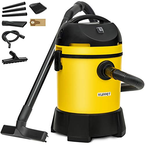 KUPPET Wet/Dry Vacuum Cleaner, Vac Pond/Home Dual Use, Portable Shop Vacuum with Attachments, Powerful 16Kpa Suction, Strong Big Tank in 30L, 1400W(Yellow)