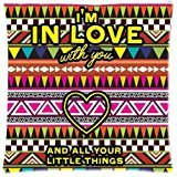 Custom Aztec I am in Love Background Rectangle Pillow Case 18 x 18 Inch cloth simulation Zippered Pillow Cover - Lljpcovers Two sides Print (Bolster Monogrammed Pillow)