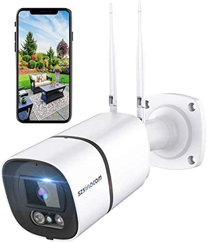 Outdoor Security Camera, 3MP WiFi Surveillance Camera IP Camera IP66 Waterproof 1536P AI Human Detection Work with Alexa IR-Cut Night Vision 40M Two-Way Audio Compatible with iOS/Android SZSINOCAM