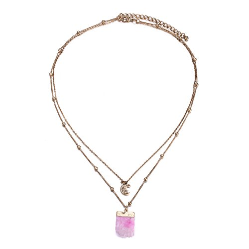 [eManco Bohemian Multi Layer Statement Pink Stone and Moon Star Pendant Gold Necklace Valentine's Day] (Family Themed Halloween Costumes 2016)