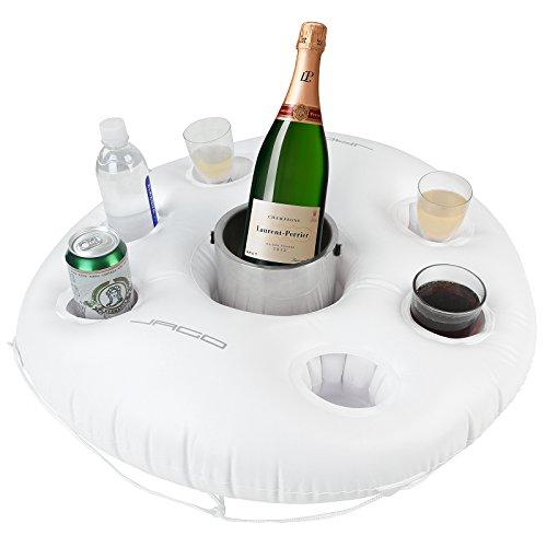Jago Aufblasbarer Getränkehalter Flaschenhalter Glashalter Poolbar Bar im witzigen Rettungsring-Look für 6 Becher als Poolparty-Accessoire