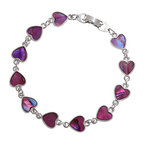 (Tide Jewellery inlaid pink Paua shell heart bracelet. 7.5