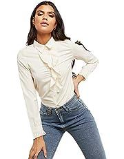 قميص مزين بكشاكش امامية واكمام طويلة للنساء