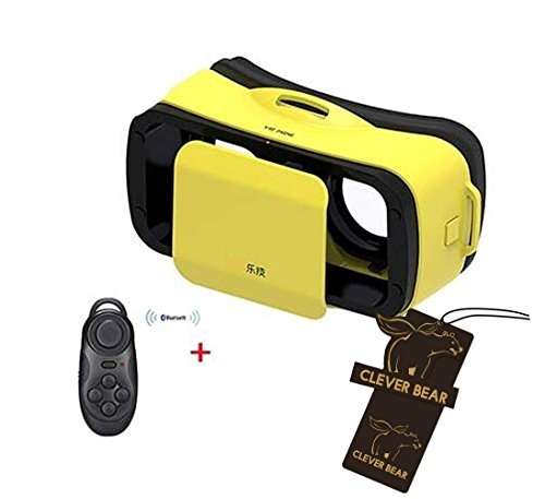 "Clever Bear LEJI Mini Virtual Reality 3D Google cardboard Glasses for Movies Games 4.5 - 5.5"" Smart Phones + Remote Control (Yellow)"